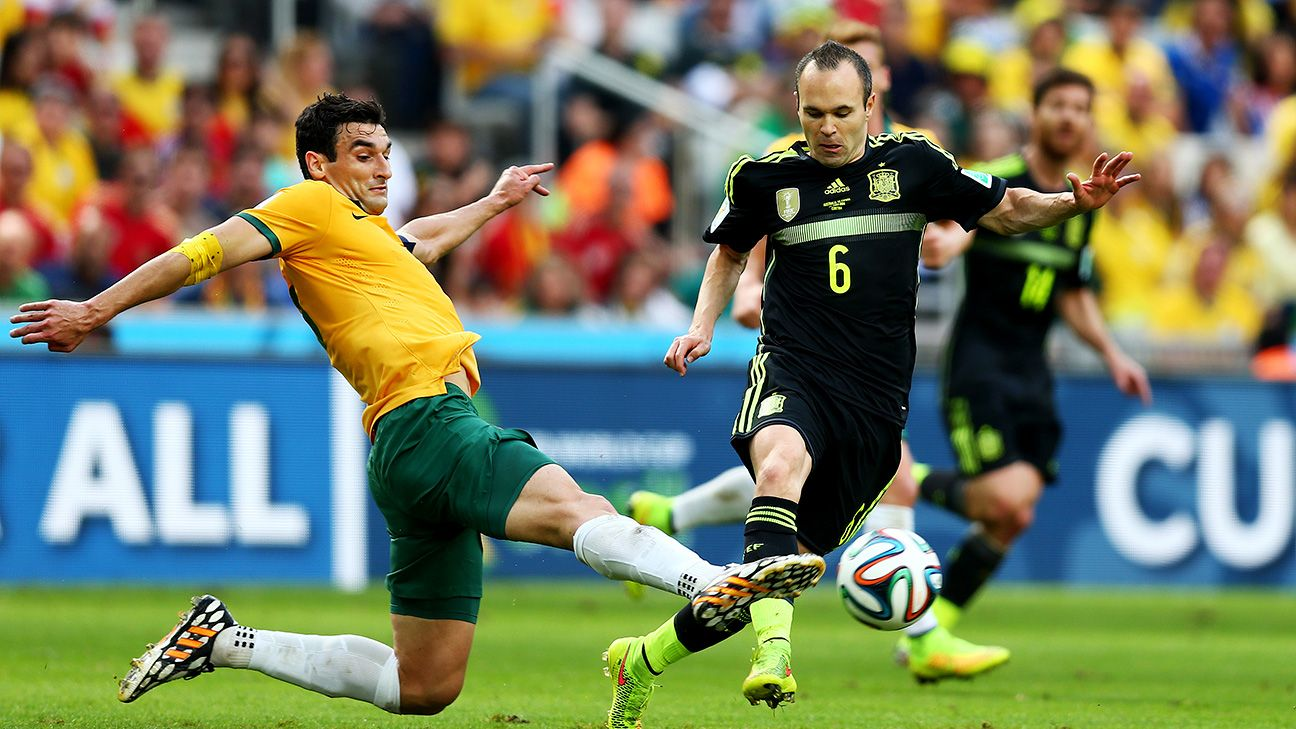 Mile Jedinak and Australia were unable to earn a result against Andres Iniesta and Spain in their World Cup finale.