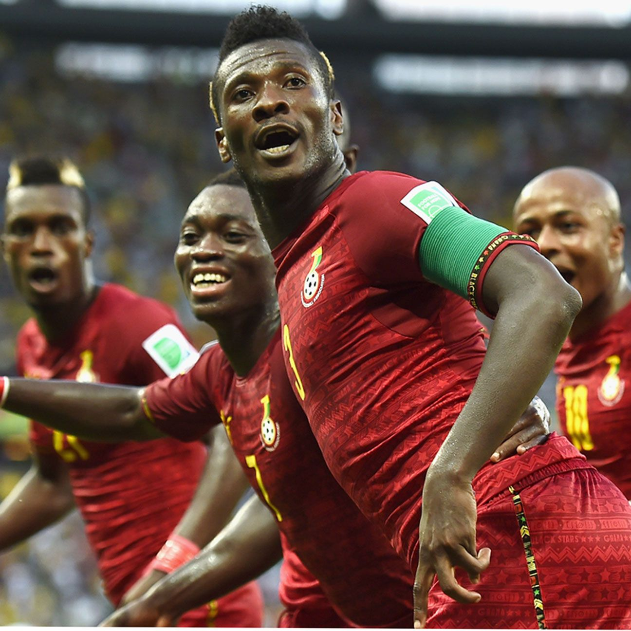 Asamoah Gyan scored in Ghana's 2-2 draw with Germany at the 2014 World Cup.