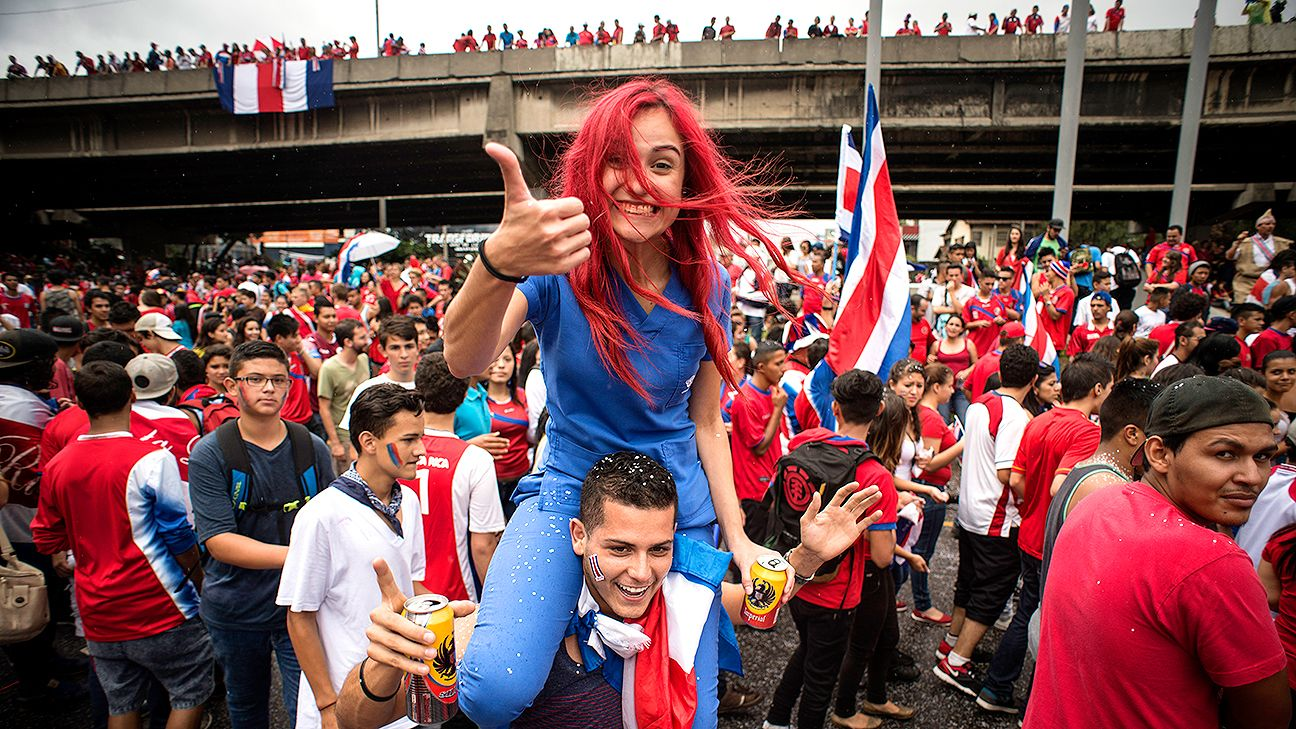 Fans in San Jose celebrate Costa Rica's first trip to the Round of 16 since 1990.