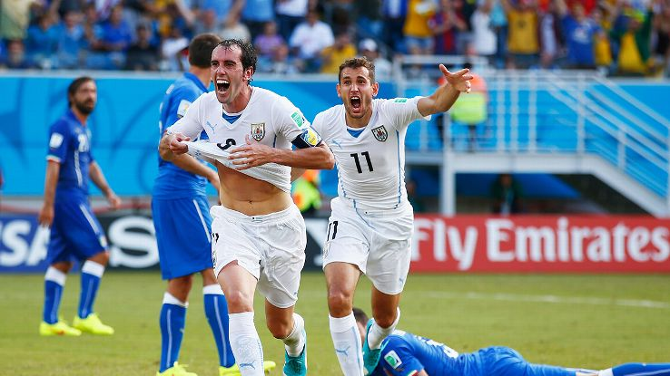 Diego Godin was Uruguay's hero in the group stage with a late header to beat Italy.