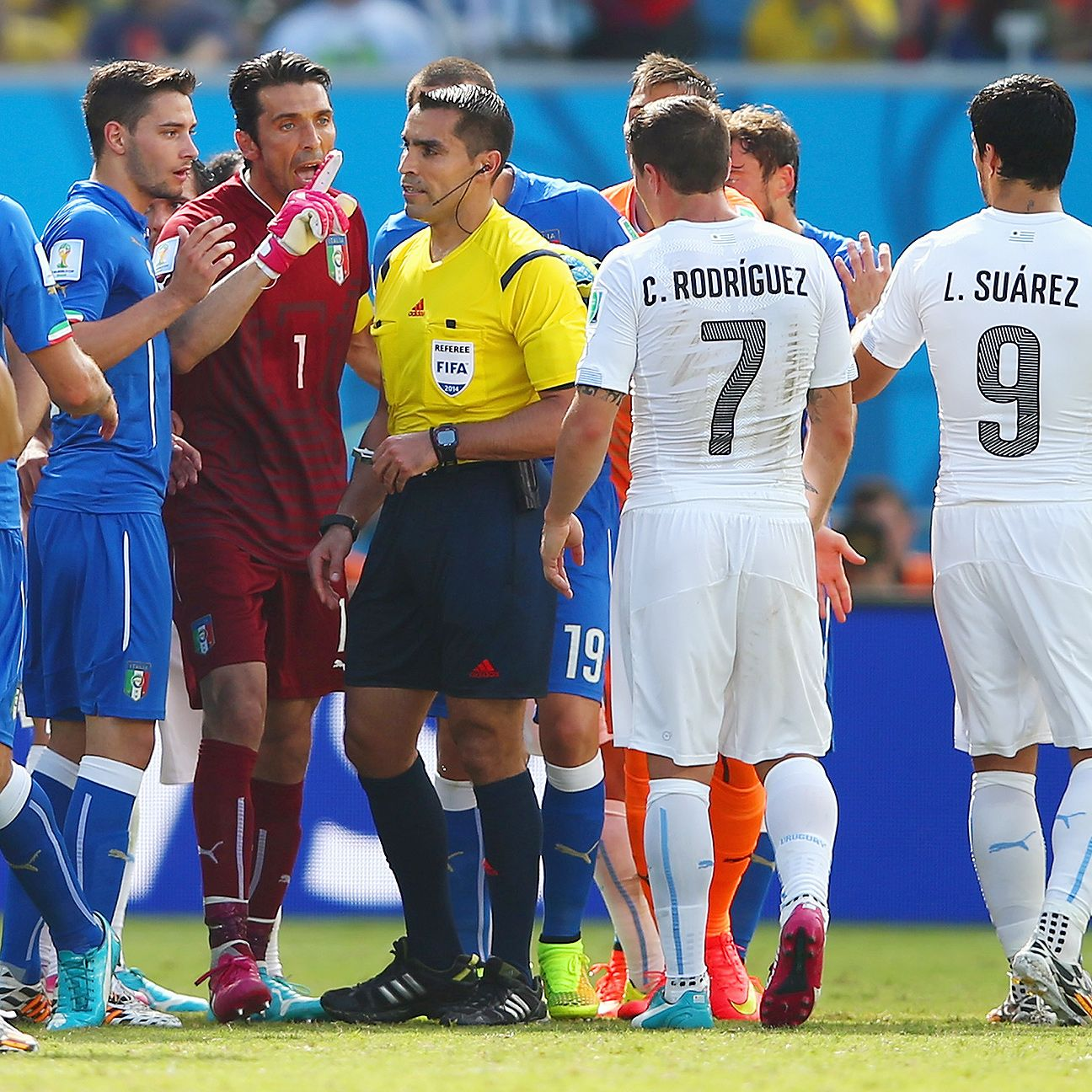 Mexican referee Marco Rodriguez found himself in the middle of a firestorm during Tuesday's Italy-Uruguay match.