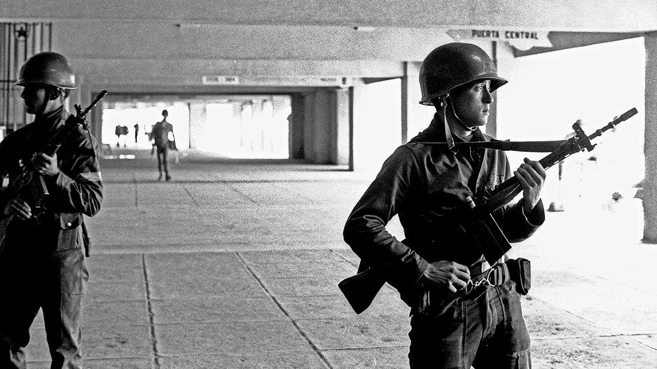 In Sept. 1973, Army troops guarded Chile National Stadium, where more than 7,000 people were being held by the new military government.