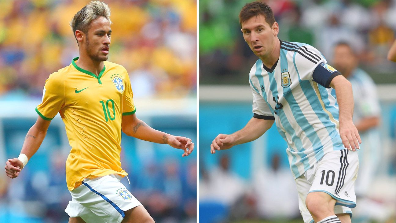 Brazil's Neymar and Argentina's Lionel Messi -- teammates for Barcelona -- will be rivals on Thursday.