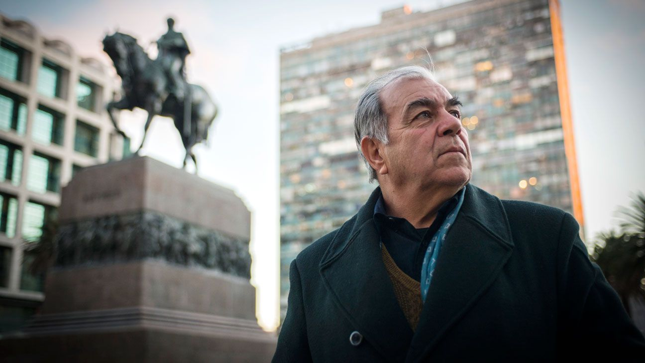 Tabare Barrios Dalmao, standing near the monument of his great-great-great grandfather, General Jose Artigas, says Uruguay will succeed at the World Cup because of their