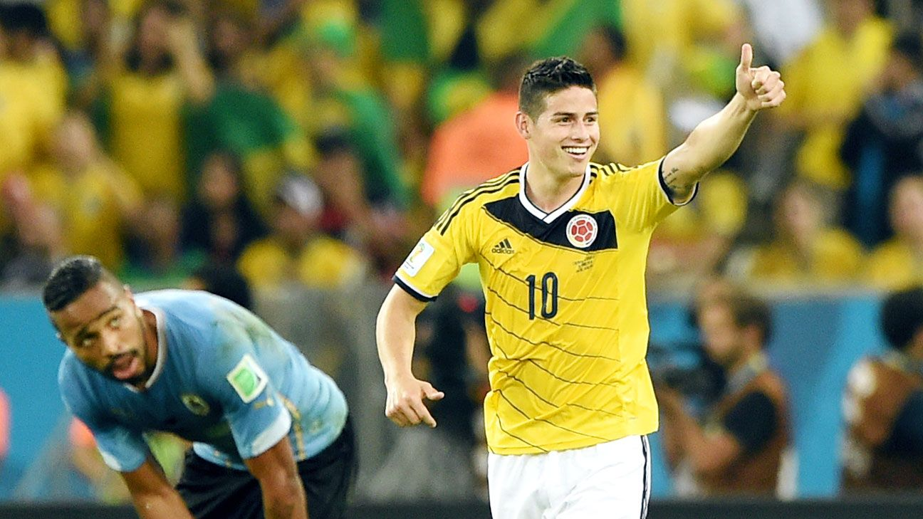James Rodriguez has exploded with five goals in four matches for Colombia.