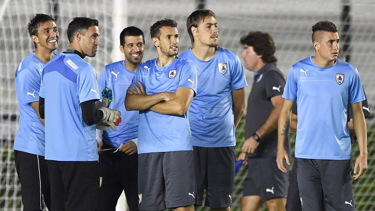 Uruguay will face Colombia, without star Luis Suarez, in the round of 16 on Saturday.