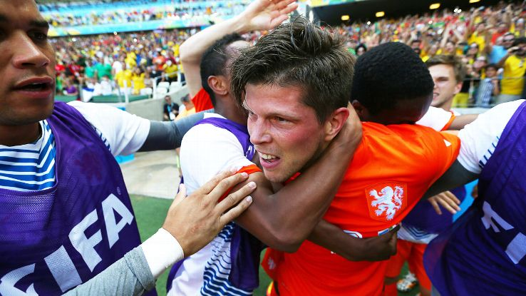 Huntelaar repaid van Gaal's faith with a crucial late burst vs. Mexico in the round of 16.