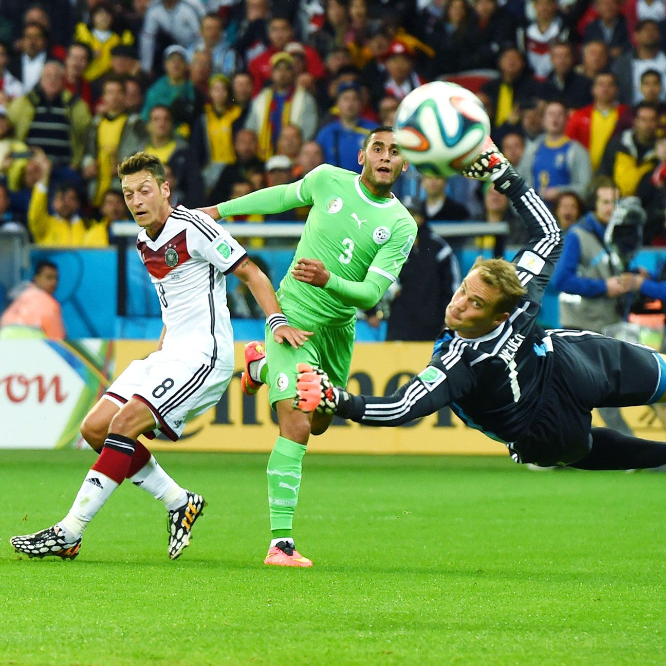 Faouzi Ghoulam of Algeria nearly scored on this first-half effort in Monday's defeat to Germany.