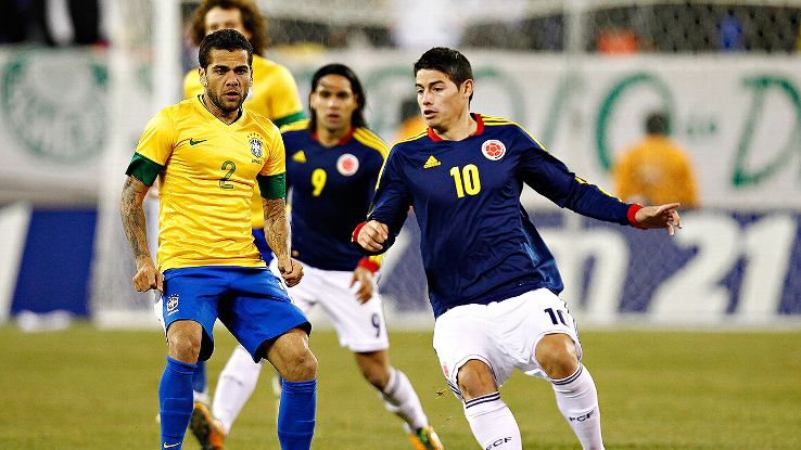Dani Alves and Brazil last faced off against James Rodriguez and Colombia in a February 2012 friendly.