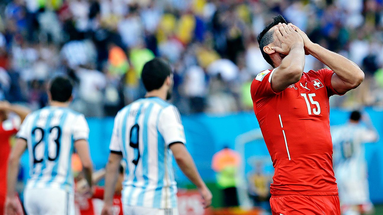 Blerim Dzemaili was inches away from equalising for Switzerland against Argentina deep into extra time.
