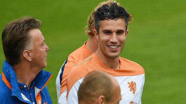 Netherlands head coach Louis van Gaal, left, will also be coaching Dutch striker Robin van Persie at Manchester United this coming season.
