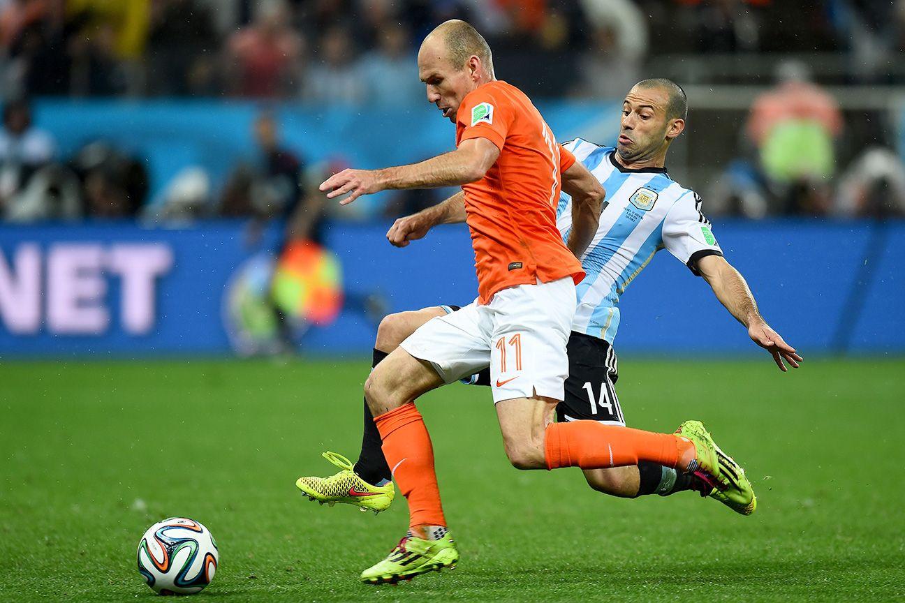 Strange tattoo tribute to Javier Mascherano's tackle on Arjen Robben
