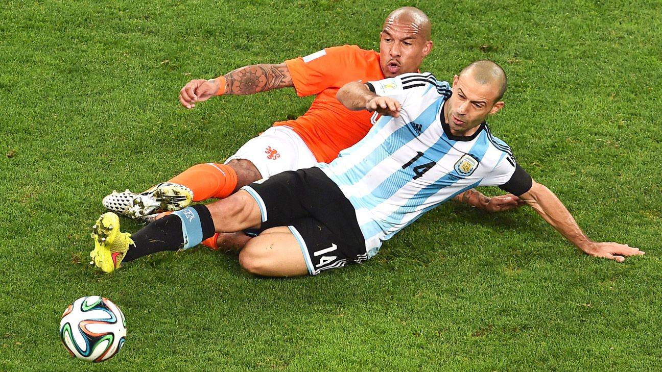 The sterling work of Javier Mascherano defines Argentina's deeper, more defensive press for possession.