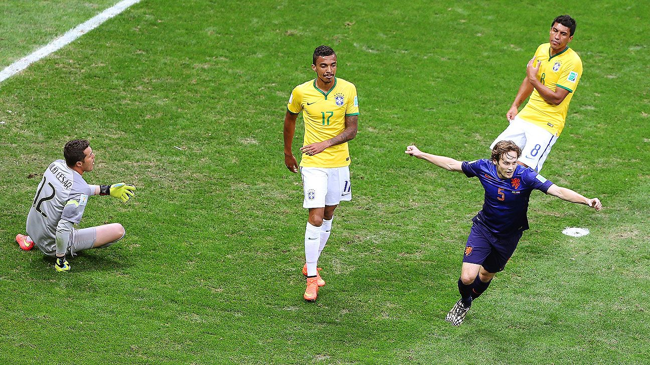 Daley Blind's 17th minute strike was the second of three Dutch goals on the day against Brazil.