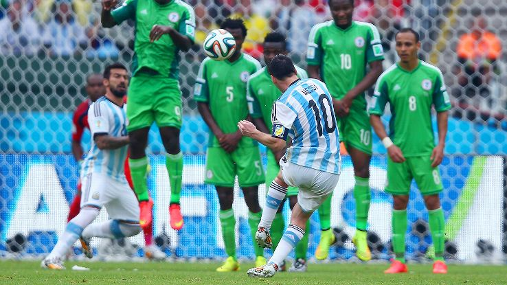 Messi has tallied four goals thus far in Brazil, including this curling free kick versus Nigeria.