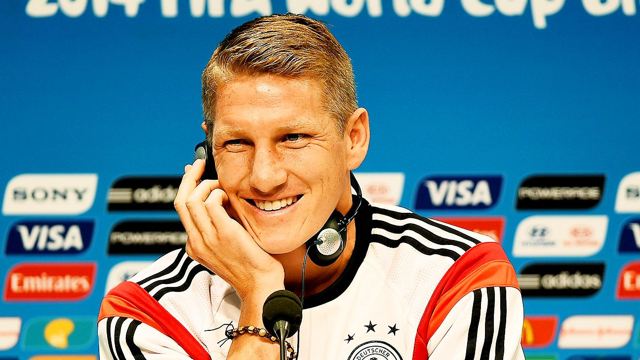 Bastian Schweinsteiger's relaxed demeanor at Saturday's press conference reflects Germany's confidence heading into Sunday's final.