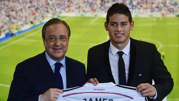 Real Madrid president Florentino Perez, left, signed Colombia's James Rodriguez, right, after the 2014 World Cup.
