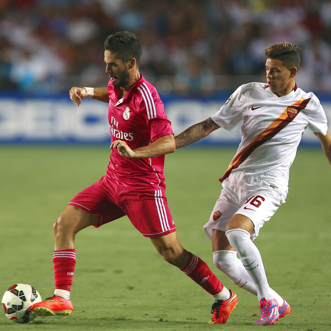 Isco, left, and the Real Madrid attack were unable to breathe through against Roma on Tuesday night.