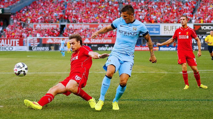 Jovetic scored twice for Man City in a losing effort vs. Liverpool at New York's Yankee Stadium.