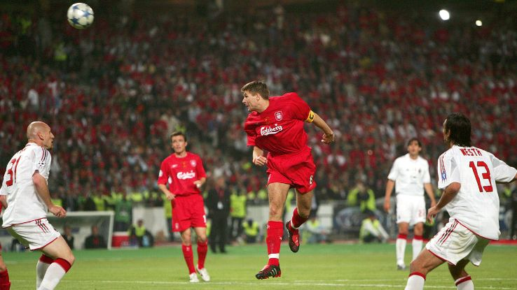 Gerrard spearheaded Liverpool's memorable comeback in the 2005 Champions League final.