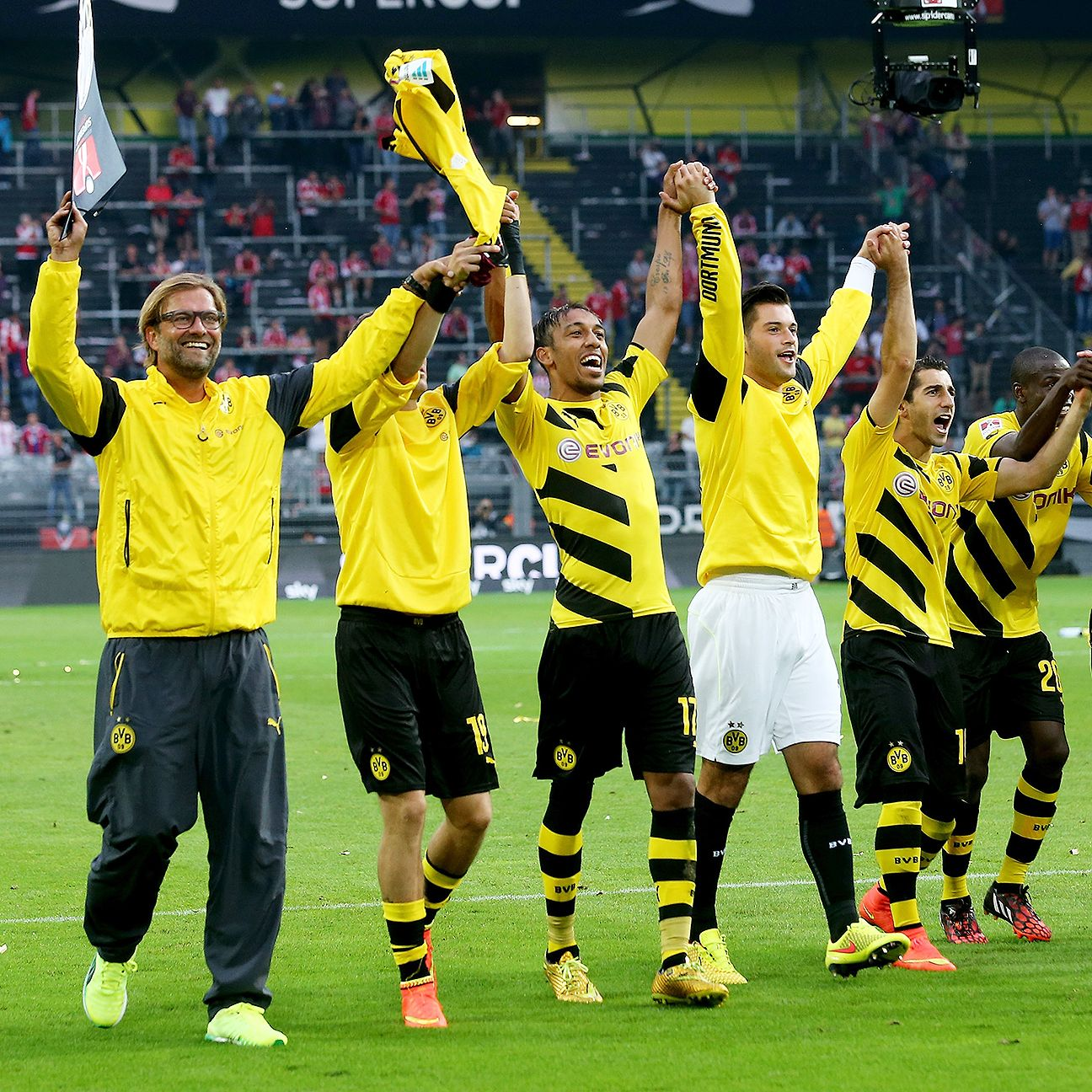 Jurgen Klopp and Borussia Dortmund were all smiles after claiming the first trophy of the 2014-15 German season.