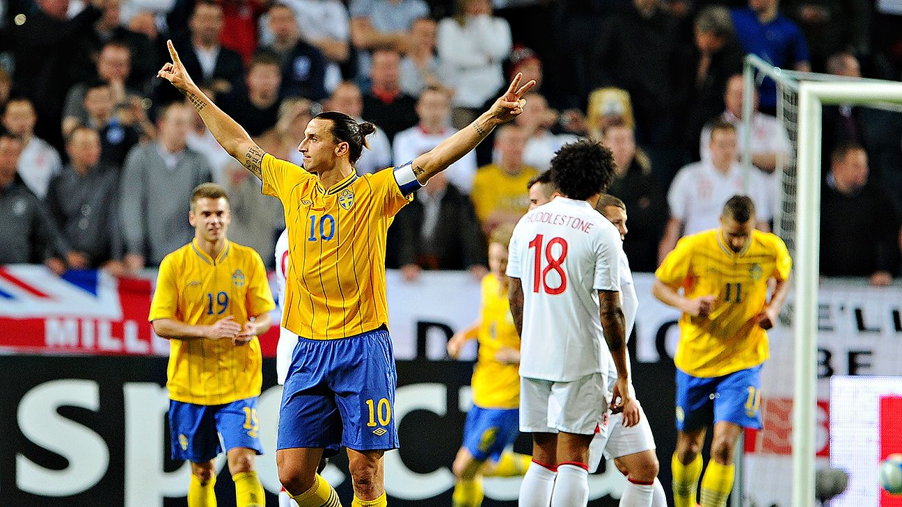 Zlatan Ibrahimovic scored all four goals when Sweden beat England 4-2 in Nov. 2012.