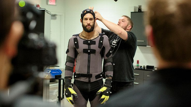 Howard gets outfitted for his motion-capture suit.