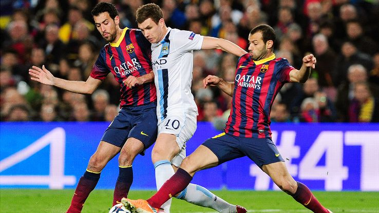 Sergio Busquets, left, and Javier Mascherano, right, are each candidates to start as Barcelona's defensive midfielder.