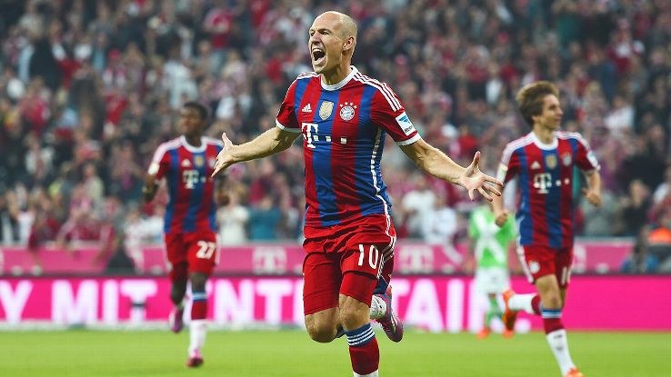 Arjen Robben picked up where he left off at the World Cup by collecting a goal on Friday in Bayern's opener.