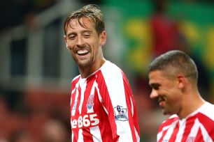 Stoke striker Peter Crouch helped his cause for a starting spot with a goal versus Portsmouth in the Capital One Cup.