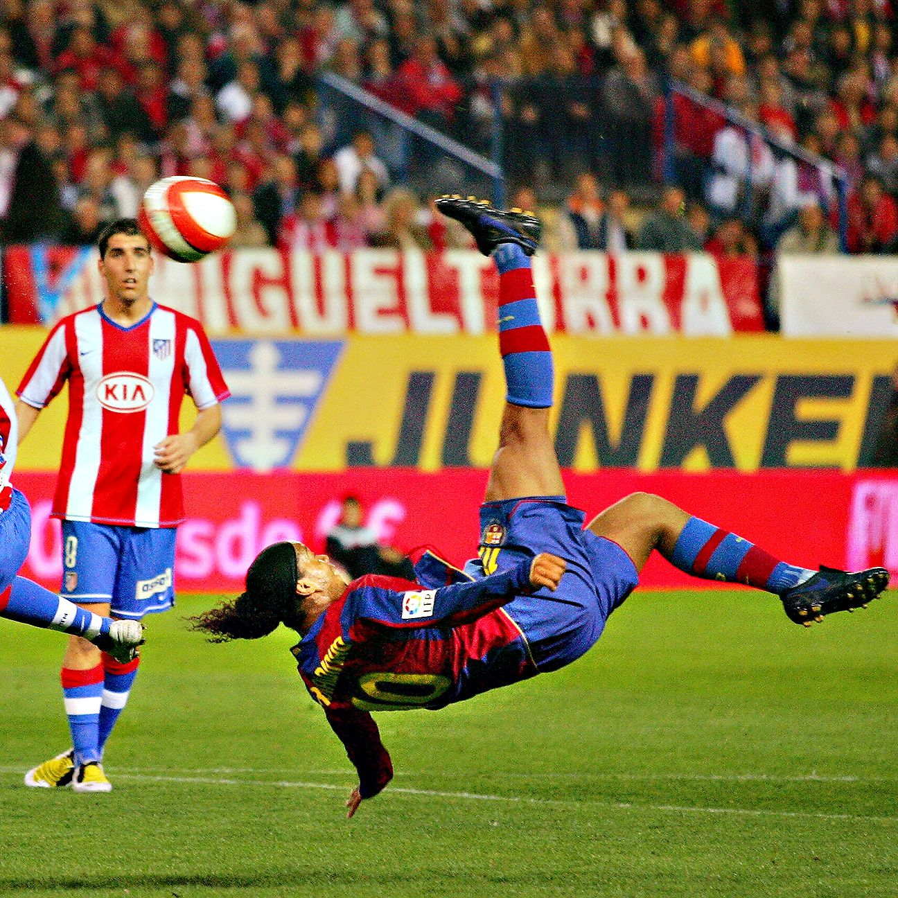 Ronaldinho has always produced the spectacular wherever he has been, like in this bicycle kick with Barcelona in a 2008 match versus Atletico Madrid.