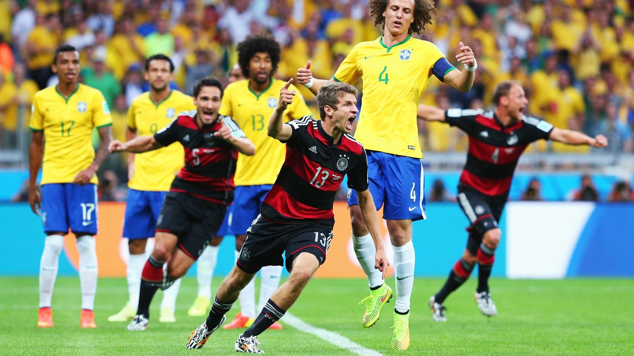 Germany thumped Brazil 7-1 in front of a passionate home crowd at the Mineirao in the 2014 World Cup semis.