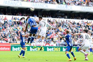 Cristiano Ronaldo scored the first of Real Madrid's eight goals with a sensational header early in the first half.