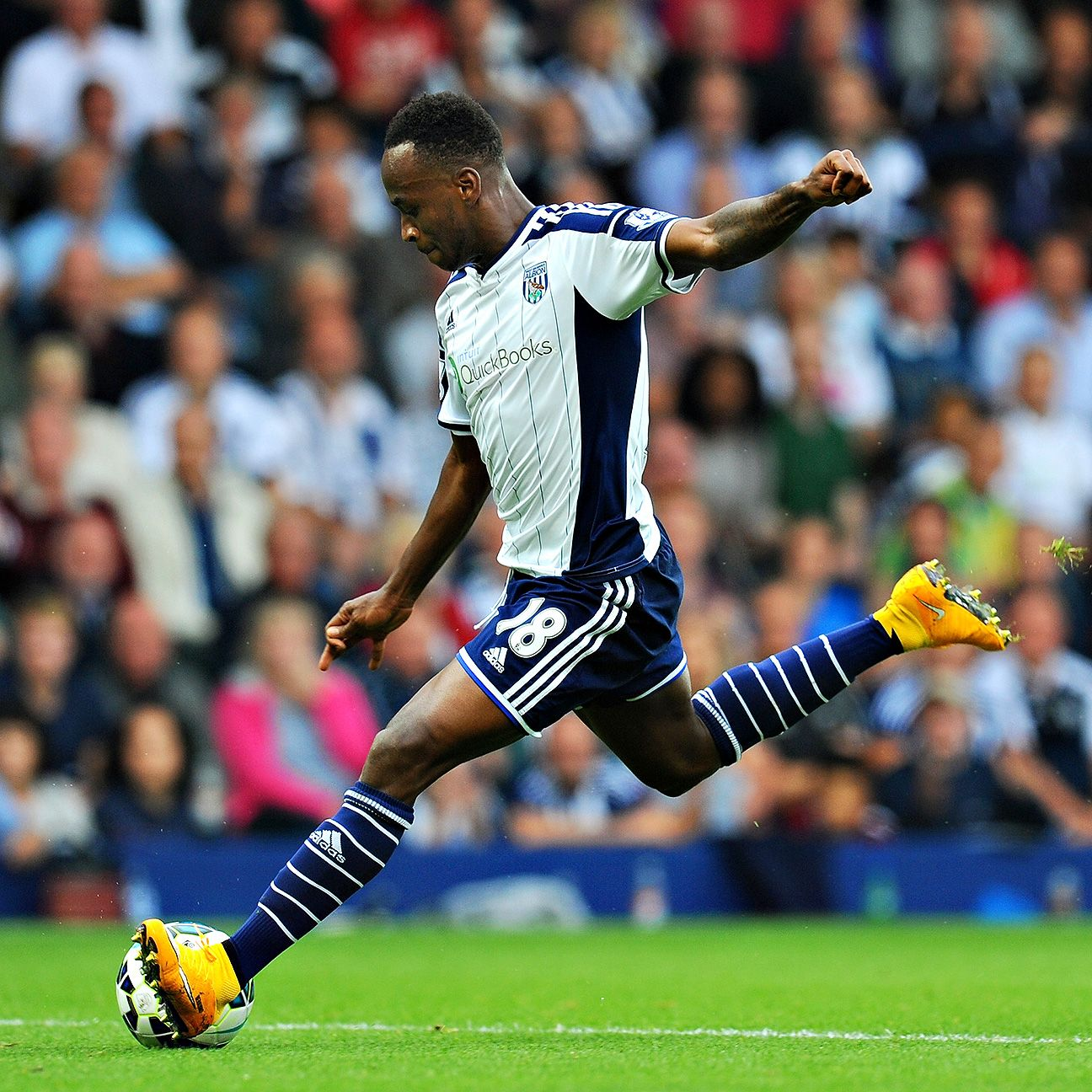 West Brom's Saido Berahino getting behind a defender was a common sight this season in the Premier League.