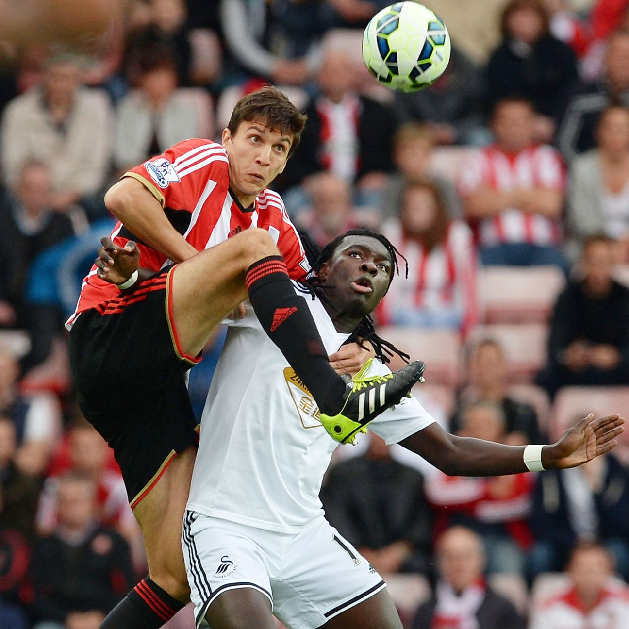 Swansea's Bafetimbi Gomis, right, had difficulty dealing with Sunderland's physical defence in Saturday 0-0 draw.