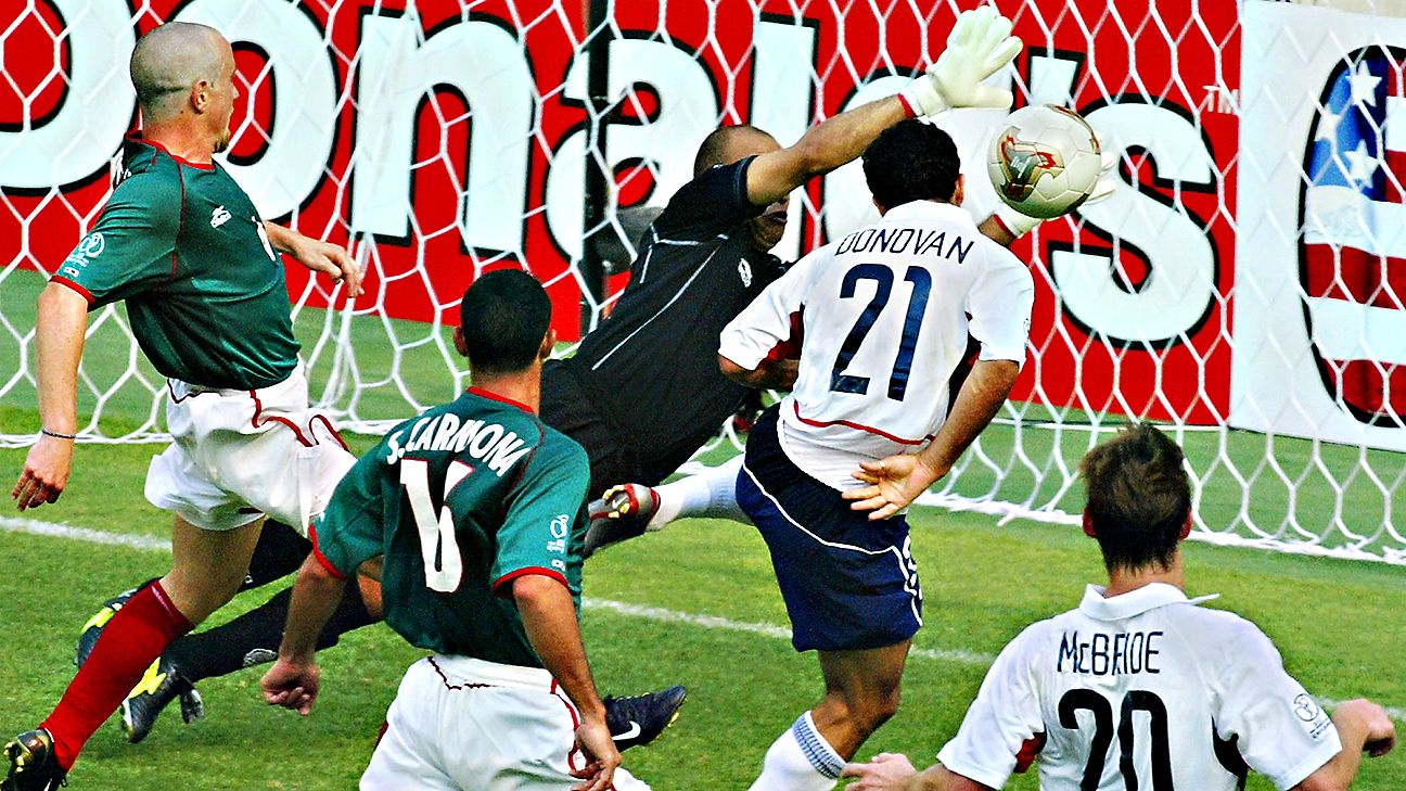 Donovan's second-half header helped seal the U.S.'s memorable 2-0 victory over Mexico at the 2002 World Cup.