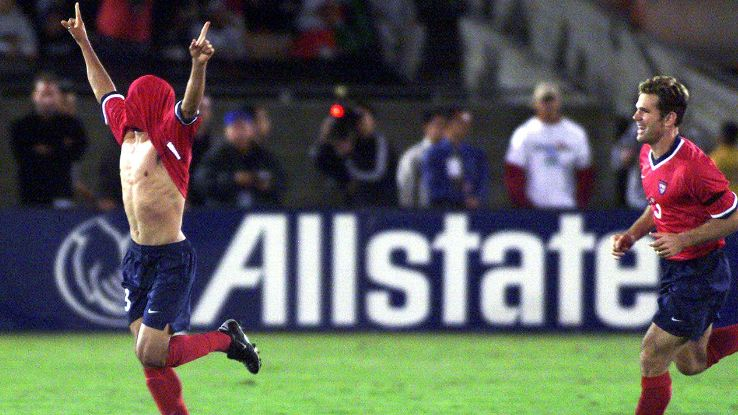 Landon Donovan celebrated his first United States national team goal in teenager fashion.