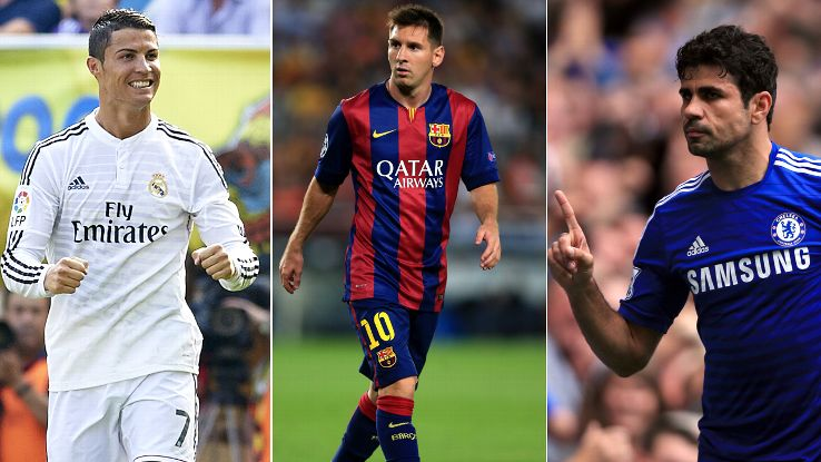 Where do Cristiano Ronaldo, Lionel Messi and Diego Costa rank among the world's best forwards?