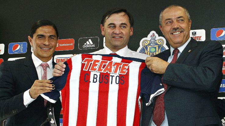 Francisco Palencia, left, resigned his post as Chivas sporting director and rumors are strong that head coach Carlos Bustos, center, will soon be following Palencia out the door.