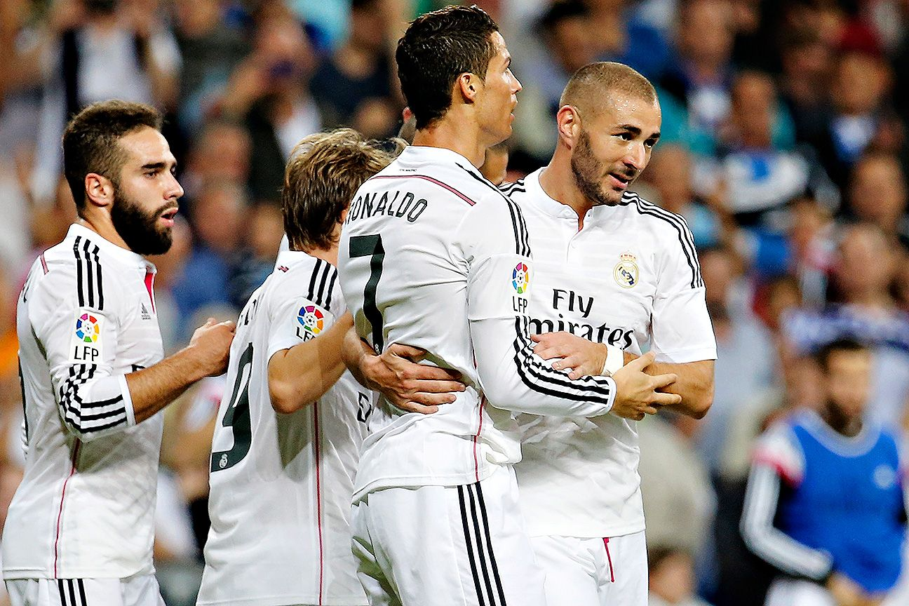 Cristiano Ronaldo and Karim Benzema teamed up to account for all five Real Madrid goals on Sunday.