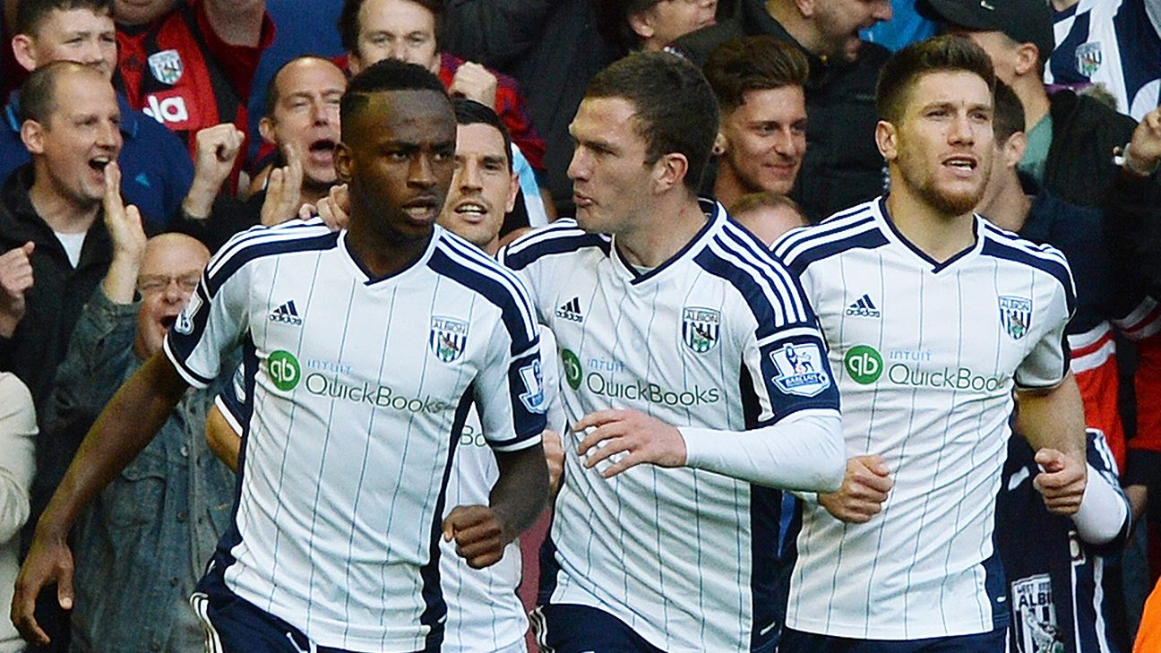A goal from Saido Berahino, left, gave West Brom fans some hope, but in they end the Baggies departed Anfield without a point.