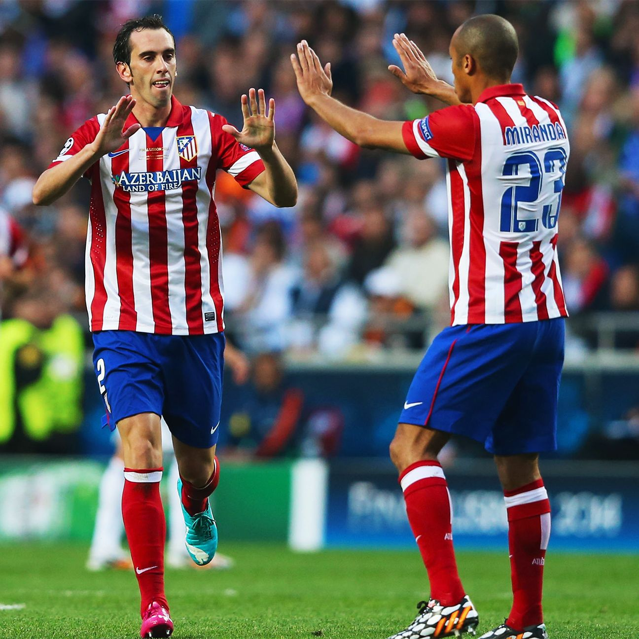 Atletico's vaunted centre-back partnership of Diego Godin, left, and Joao Miranda, right, have struggled to match last season's stellar form.