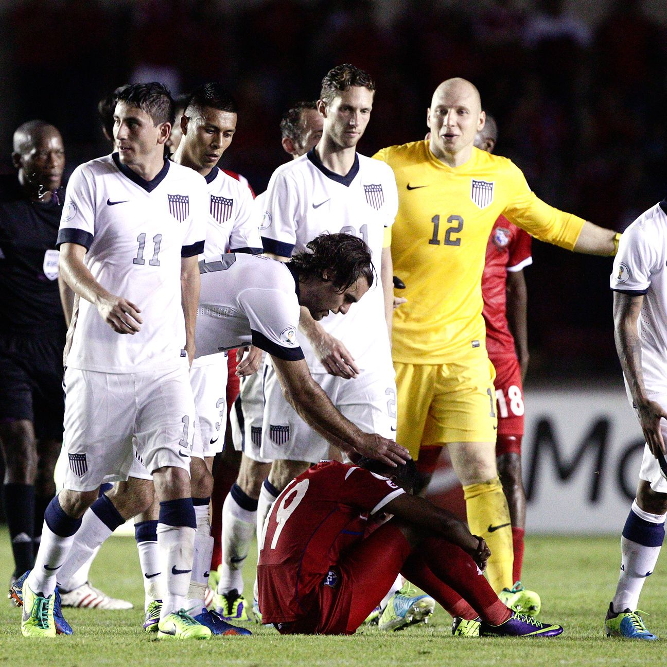 While thrilled with the victory, Zusi and his U.S. teammates did not hesitate to console the Panamanian players.