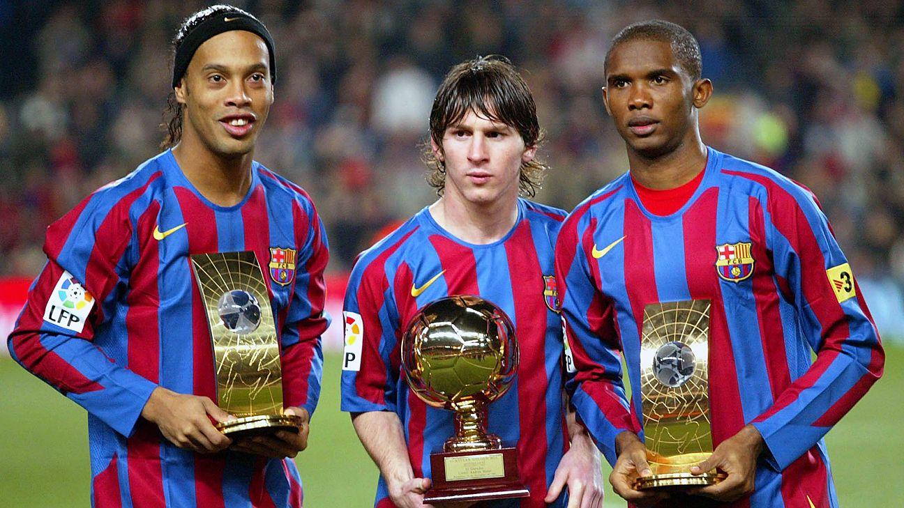 Samuel Eto'o, at the peak of his powers, alongside Lionel Messi and Ronaldinho