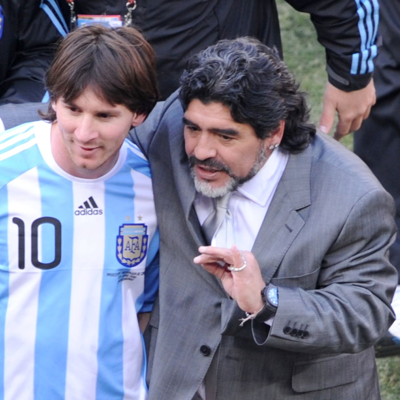 Two of the best No. 10s: Lionel Messi and Diego Maradona.