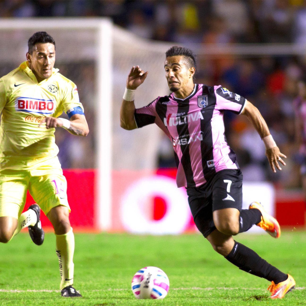Former Vancouver Whitecap Camilo Sanvezzo scored in second-half stoppage time to help Queretaro upset Liga MX leaders Club America.