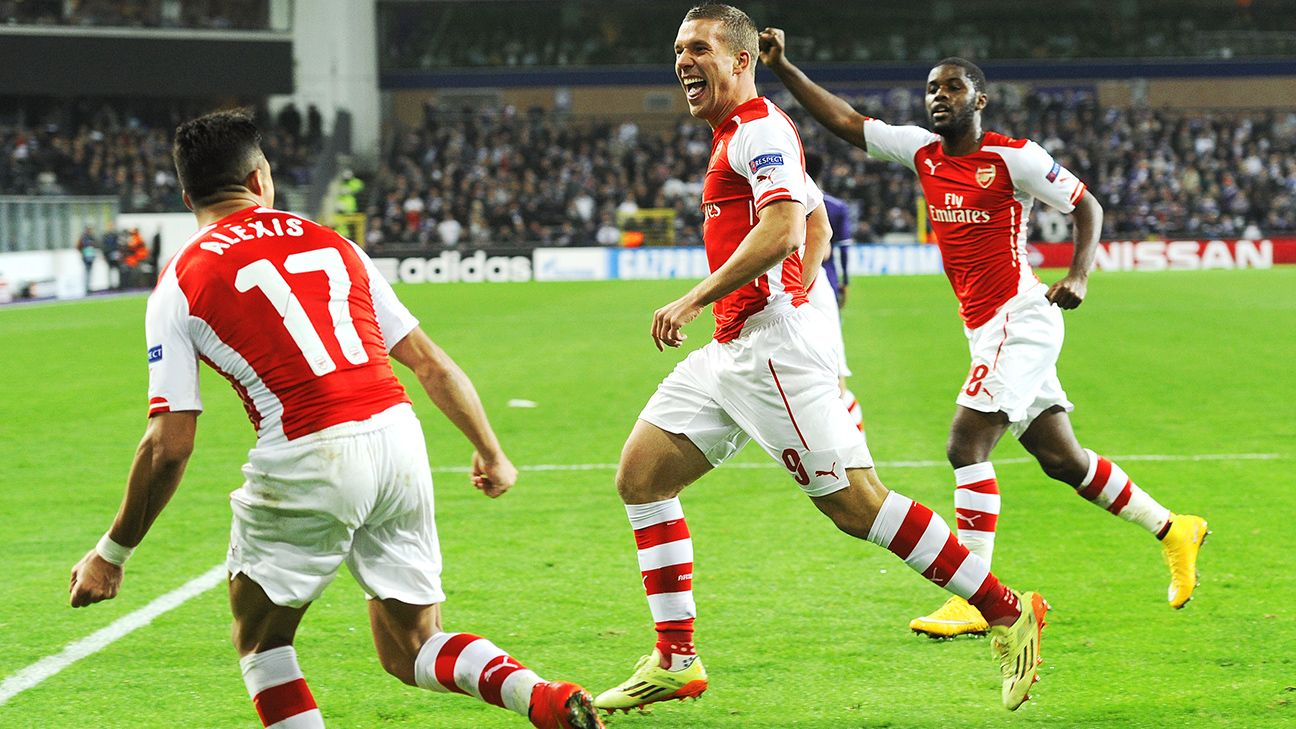 Lukas Podolski's late goal helped Arsenal earn all three points at Anderlecht.