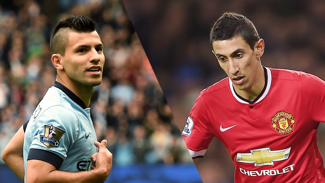 Argentine teammates Sergio Aguero and Angel di Maria will square off as rivals in Sunday's Manchester derby.