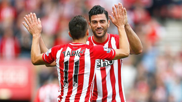 Southampton's lethal duo of Dusan Tadic and Graziano Pelle are back in action on Saturday.