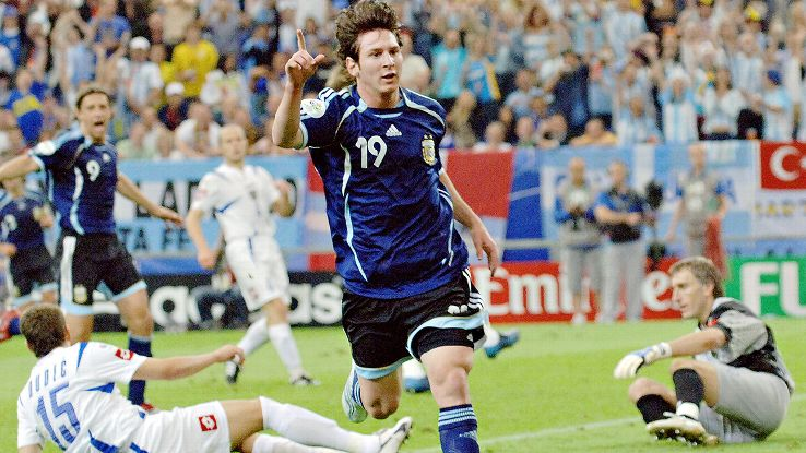Lionel Messi featured in three matches at the 2006 World Cup, but did not see the field in Argentina's quarterfinal elimination at the hands of Germany.